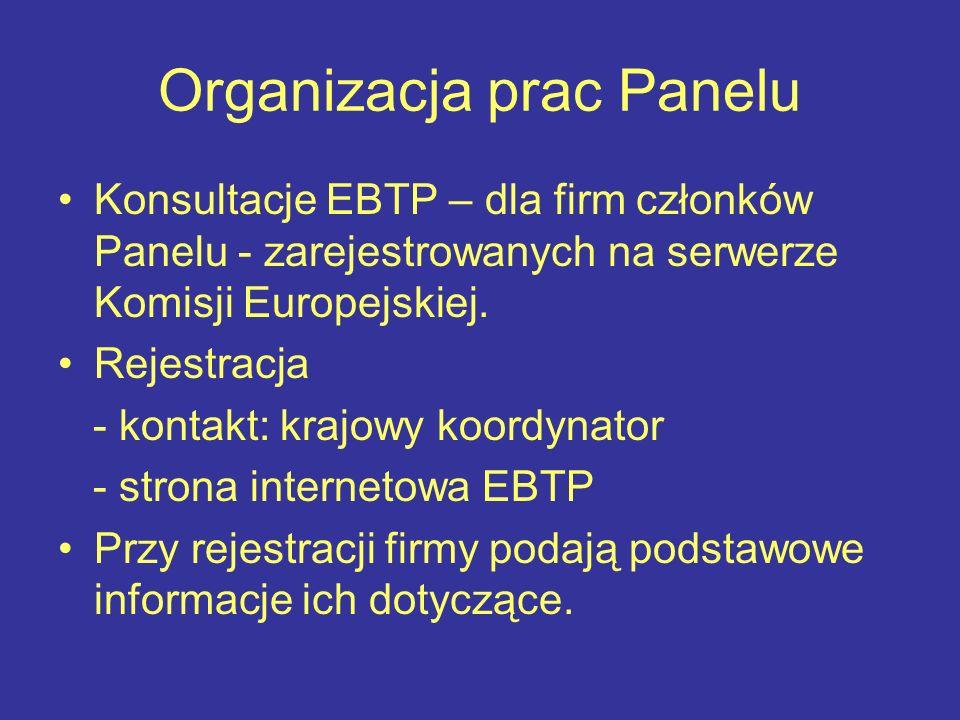 Organizacja prac Panelu Konsultacje EBTP – dla firm członków Panelu - zarejestrowanych na serwerze Komisji Europejskiej.
