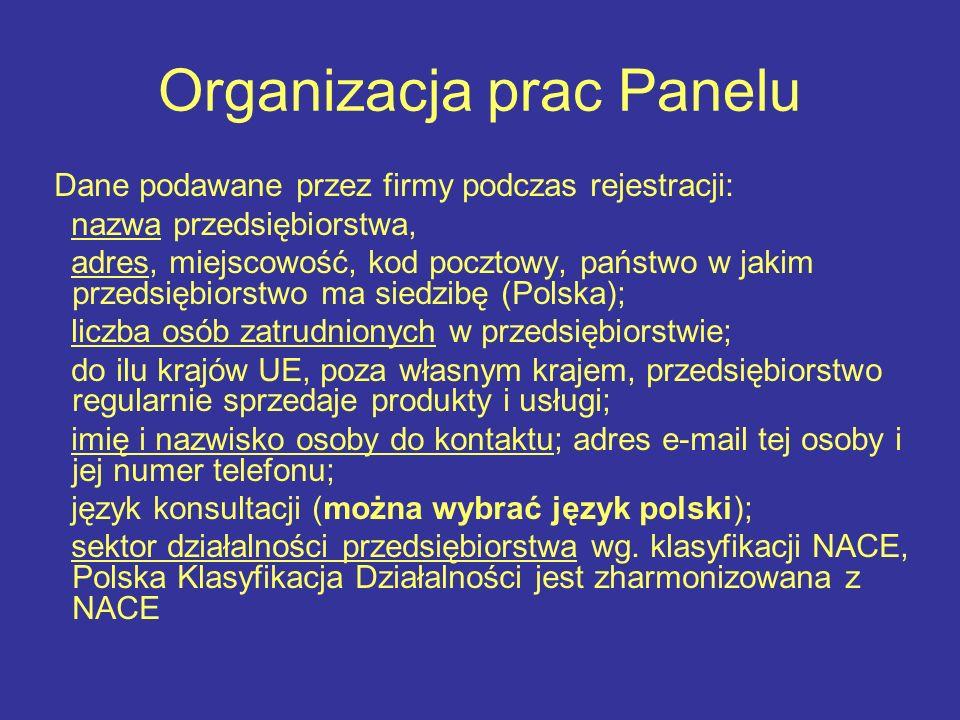 Organizacja prac Panelu Dane podawane przez firmy podczas rejestracji: nazwa przedsiębiorstwa, adres, miejscowość, kod pocztowy, państwo w jakim przedsiębiorstwo ma siedzibę (Polska); liczba osób zatrudnionych w przedsiębiorstwie; do ilu krajów UE, poza własnym krajem, przedsiębiorstwo regularnie sprzedaje produkty i usługi; imię i nazwisko osoby do kontaktu; adres e mail tej osoby i jej numer telefonu; język konsultacji (można wybrać język polski); sektor działalności przedsiębiorstwa wg.