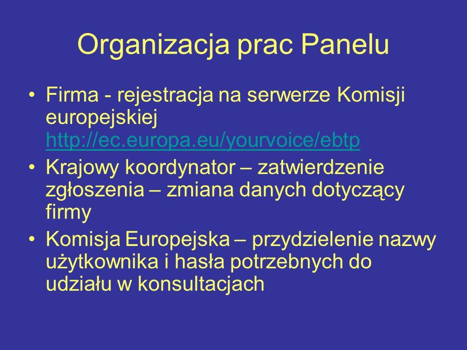 Organizacja prac Panelu Firma - rejestracja na serwerze Komisji europejskiej http://ec.europa.eu/yourvoice/ebtp http://ec.europa.eu/yourvoice/ebtp Krajowy koordynator – zatwierdzenie zgłoszenia – zmiana danych dotyczący firmy Komisja Europejska – przydzielenie nazwy użytkownika i hasła potrzebnych do udziału w konsultacjach