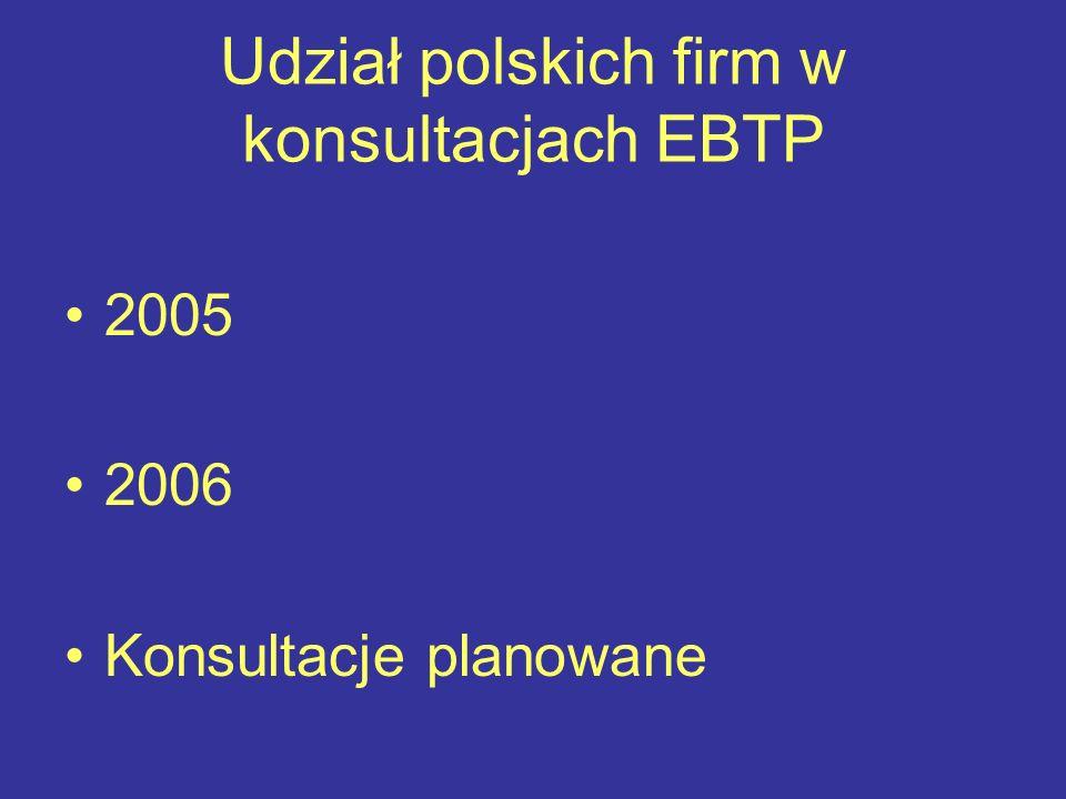 Udział polskich firm w konsultacjach EBTP 2005 2006 Konsultacje planowane