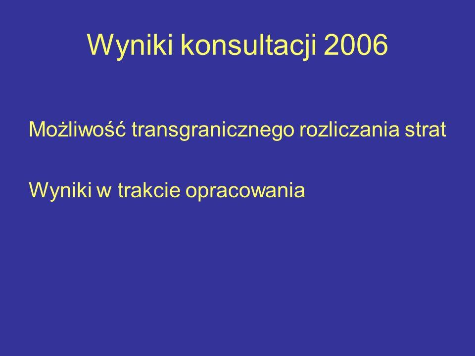 Wyniki konsultacji 2006 Możliwość transgranicznego rozliczania strat Wyniki w trakcie opracowania