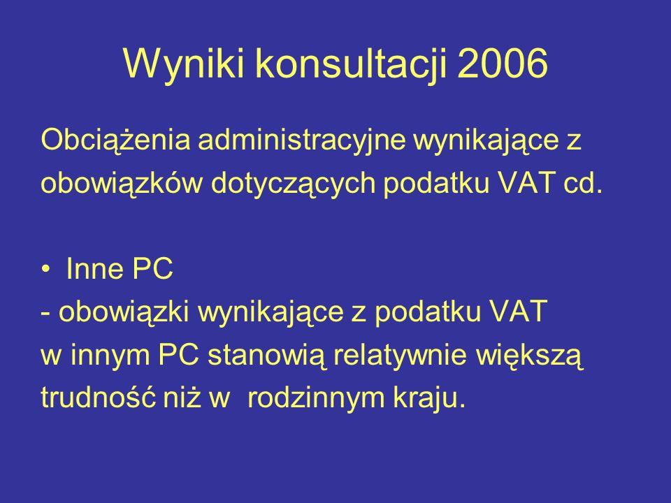 Wyniki konsultacji 2006 Obciążenia administracyjne wynikające z obowiązków dotyczących podatku VAT cd.