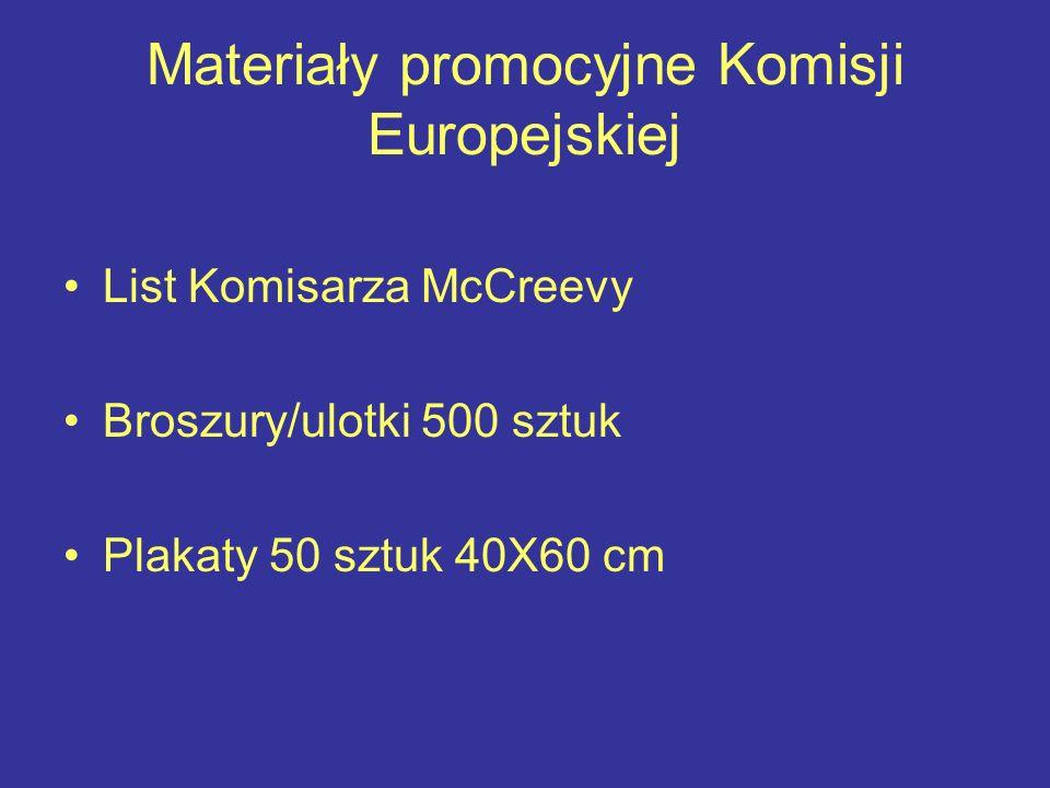 Materiały promocyjne Komisji Europejskiej List Komisarza McCreevy Broszury/ulotki 500 sztuk Plakaty 50 sztuk 40X60 cm