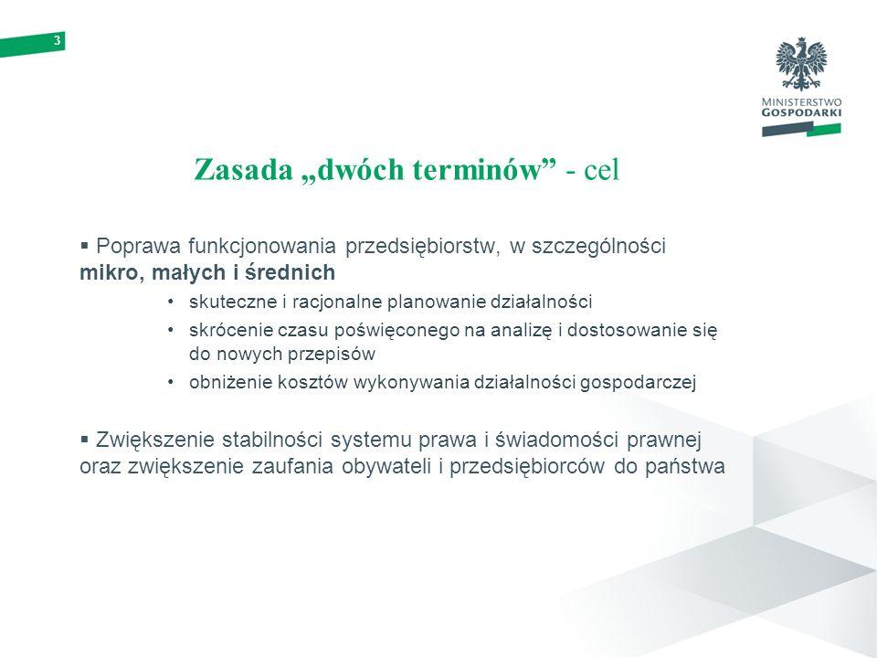 3 Zasada dwóch terminów - cel Poprawa funkcjonowania przedsiębiorstw, w szczególności mikro, małych i średnich skuteczne i racjonalne planowanie działalności skrócenie czasu poświęconego na analizę i dostosowanie się do nowych przepisów obniżenie kosztów wykonywania działalności gospodarczej Zwiększenie stabilności systemu prawa i świadomości prawnej oraz zwiększenie zaufania obywateli i przedsiębiorców do państwa