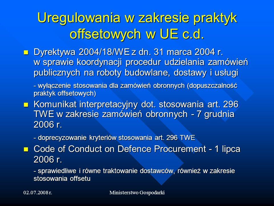 02.07.2008 r.Ministerstwo Gospodarki Offset w dokumentach strategicznych UE i EDA Strategia dla silniejszego i bardziej konkurencyjnego europejskiego przemysłu obronnego – 2007 r.