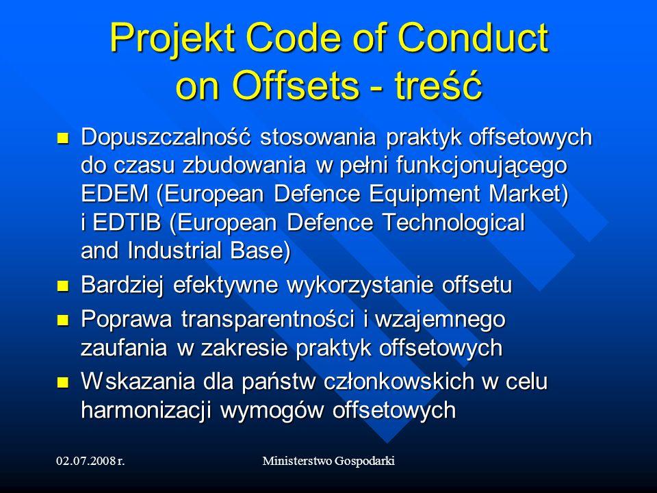 02.07.2008 r.Ministerstwo Gospodarki Dyrektywa w zakresie zamówień obronnych 5 grudnia 2007 r.