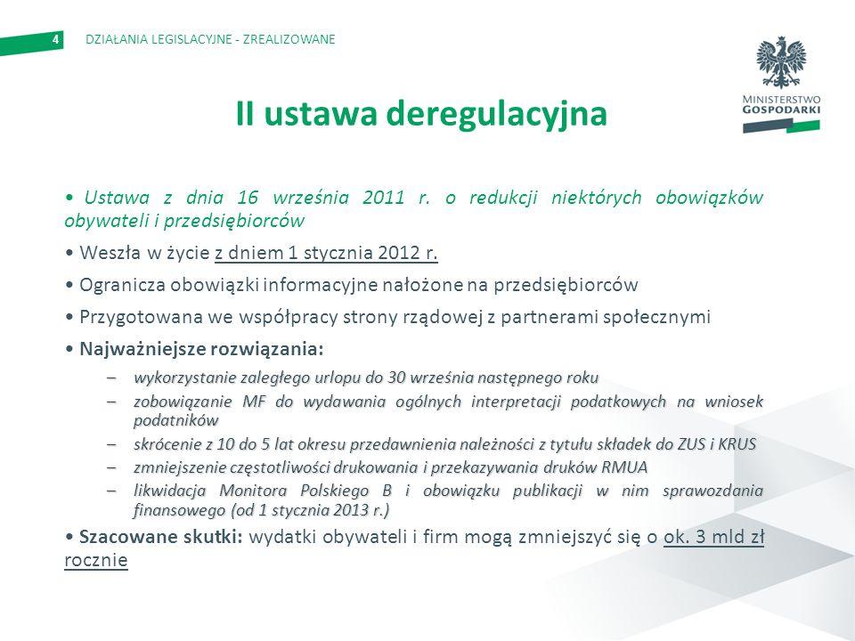 4 II ustawa deregulacyjna Ustawa z dnia 16 września 2011 r.