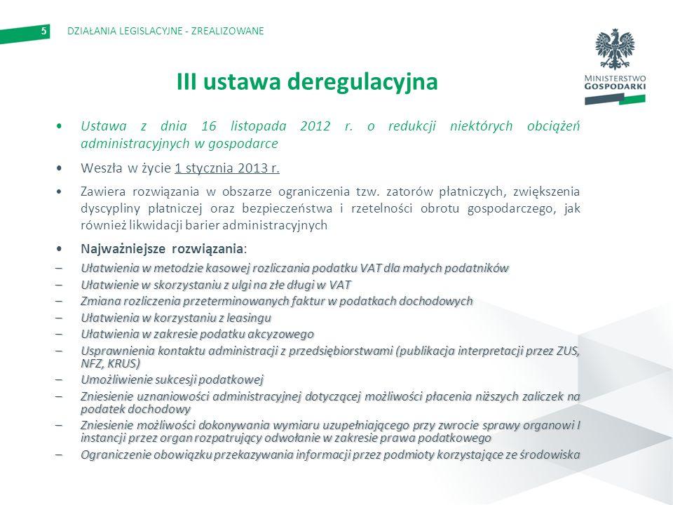 5 III ustawa deregulacyjna Ustawa z dnia 16 listopada 2012 r. o redukcji niektórych obciążeń administracyjnych w gospodarce Weszła w życie 1 stycznia