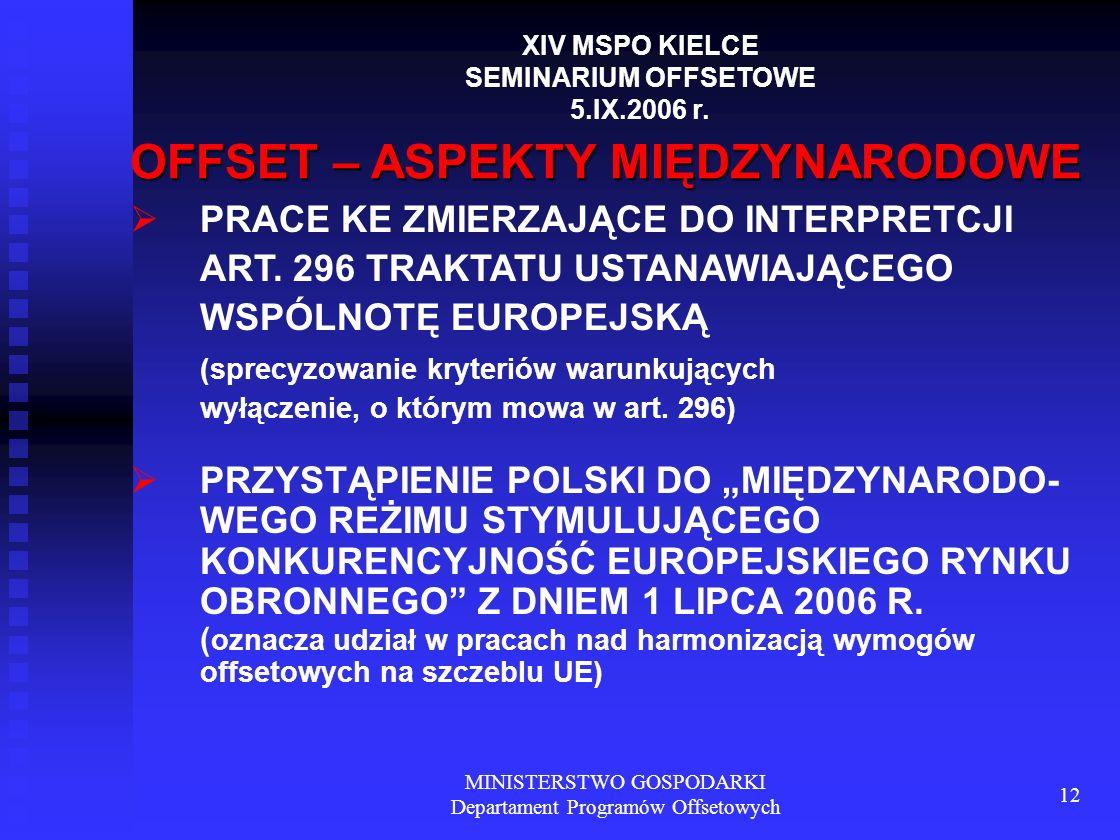 MINISTERSTWO GOSPODARKI Departament Programów Offsetowych 12 OFFSET – ASPEKTY MIĘDZYNARODOWE PRACE KE ZMIERZAJĄCE DO INTERPRETCJI ART. 296 TRAKTATU US