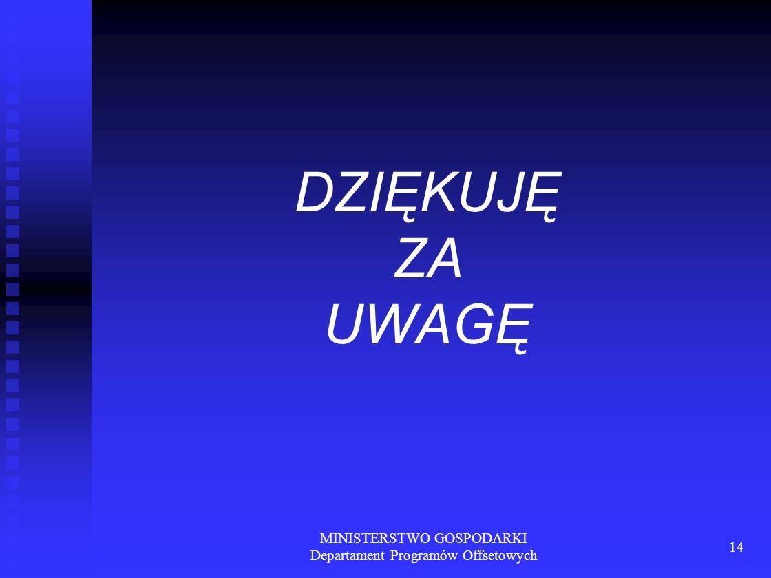 MINISTERSTWO GOSPODARKI Departament Programów Offsetowych 14 DZIĘKUJĘ ZA UWAGĘ