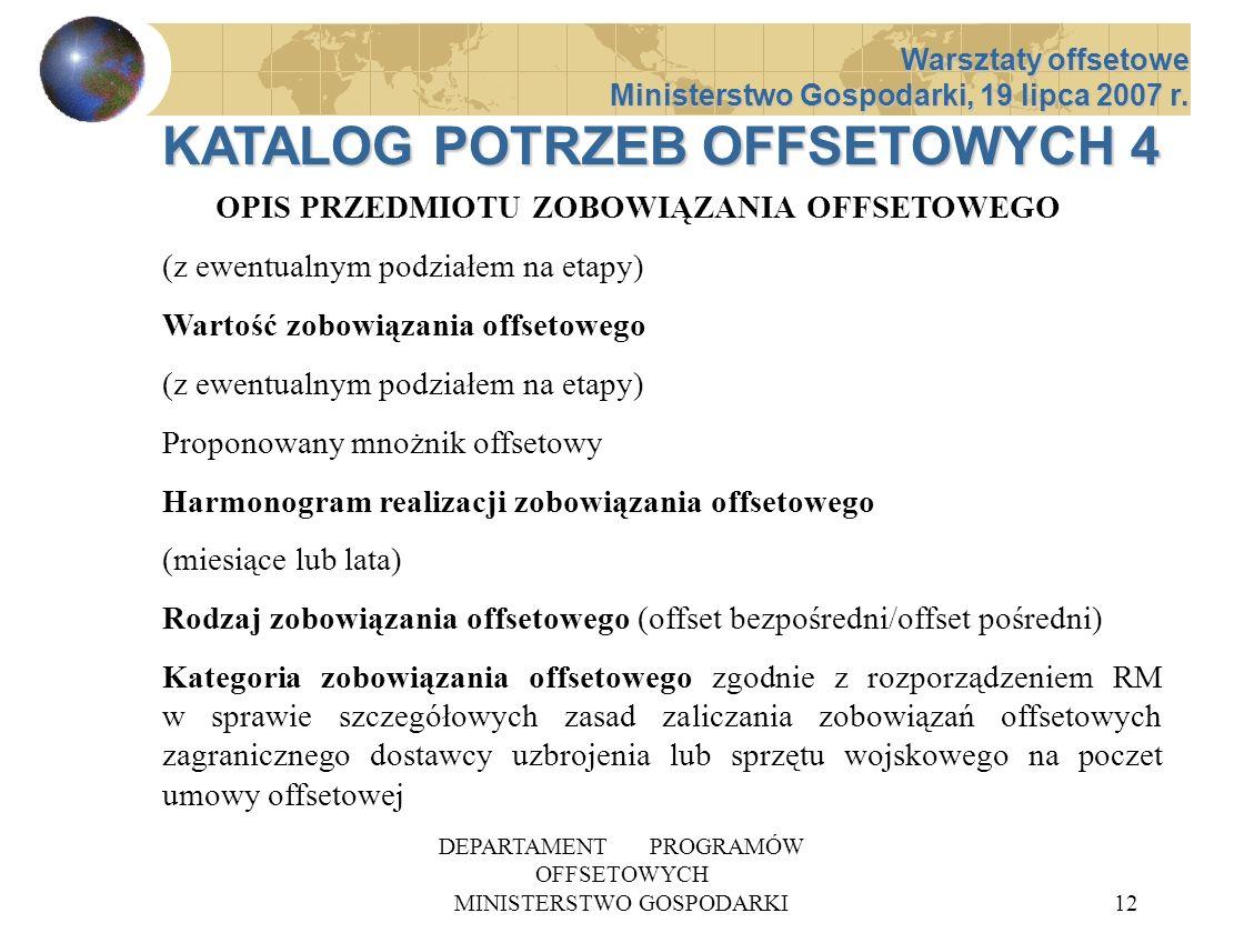 DEPARTAMENT PROGRAMÓW OFFSETOWYCH MINISTERSTWO GOSPODARKI12 OPIS PRZEDMIOTU ZOBOWIĄZANIA OFFSETOWEGO (z ewentualnym podziałem na etapy) Wartość zobowi