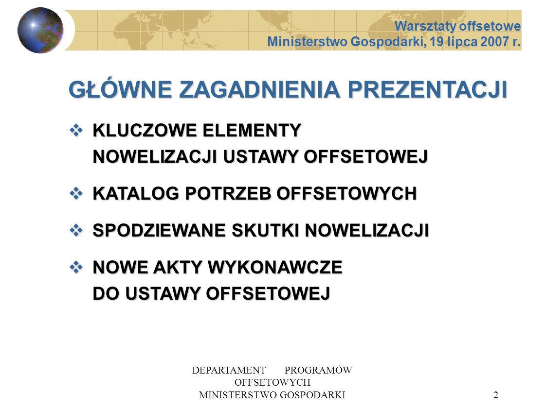 DEPARTAMENT PROGRAMÓW OFFSETOWYCH MINISTERSTWO GOSPODARKI13 KATALOG POTRZEB OFFSETOWYCH 5 UZASADNIENIE WNIOSKU (maks.