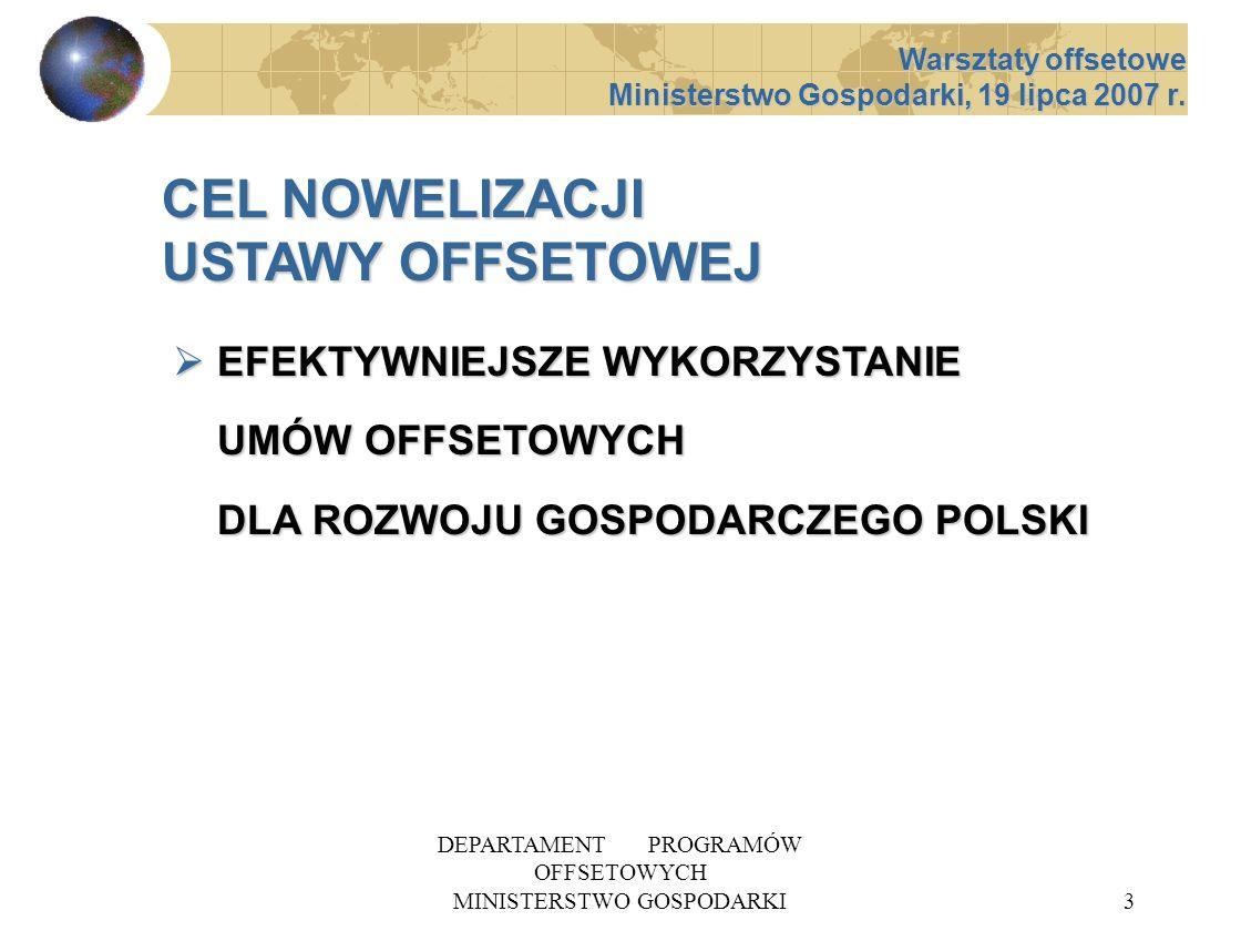 DEPARTAMENT PROGRAMÓW OFFSETOWYCH MINISTERSTWO GOSPODARKI4 USTAWA z dnia 8 grudnia 2006 r.