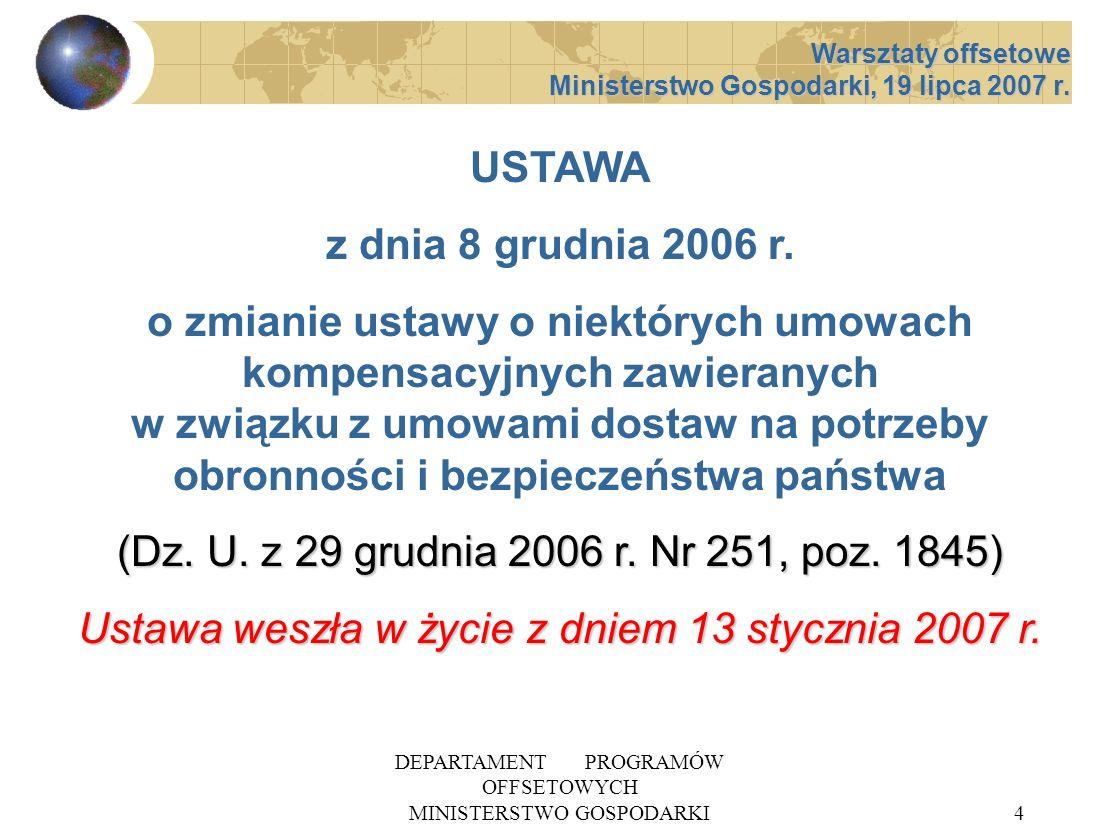 DEPARTAMENT PROGRAMÓW OFFSETOWYCH MINISTERSTWO GOSPODARKI15 SPODZIEWANE SKUTKI NOWELIZACJI 1 PRECYZYJNA PROCEDURA ZAWIERANIA UMÓW OFFSETOWYCH PRECYZYJNA PROCEDURA ZAWIERANIA UMÓW OFFSETOWYCH WZROST ROLI OFERT I ZOBOWIĄZAŃ OFFSETOWYCH WZROST ROLI OFERT I ZOBOWIĄZAŃ OFFSETOWYCH WPŁYW OFFSETU NA WYBÓR OFERTY DOSTAWY WPŁYW OFFSETU NA WYBÓR OFERTY DOSTAWY ROZWÓJ MSP W TYM SEKTORA OBRONNEGO ROZWÓJ MSP W TYM SEKTORA OBRONNEGO Warsztaty offsetowe Ministerstwo Gospodarki, 19 lipca 2007 r.