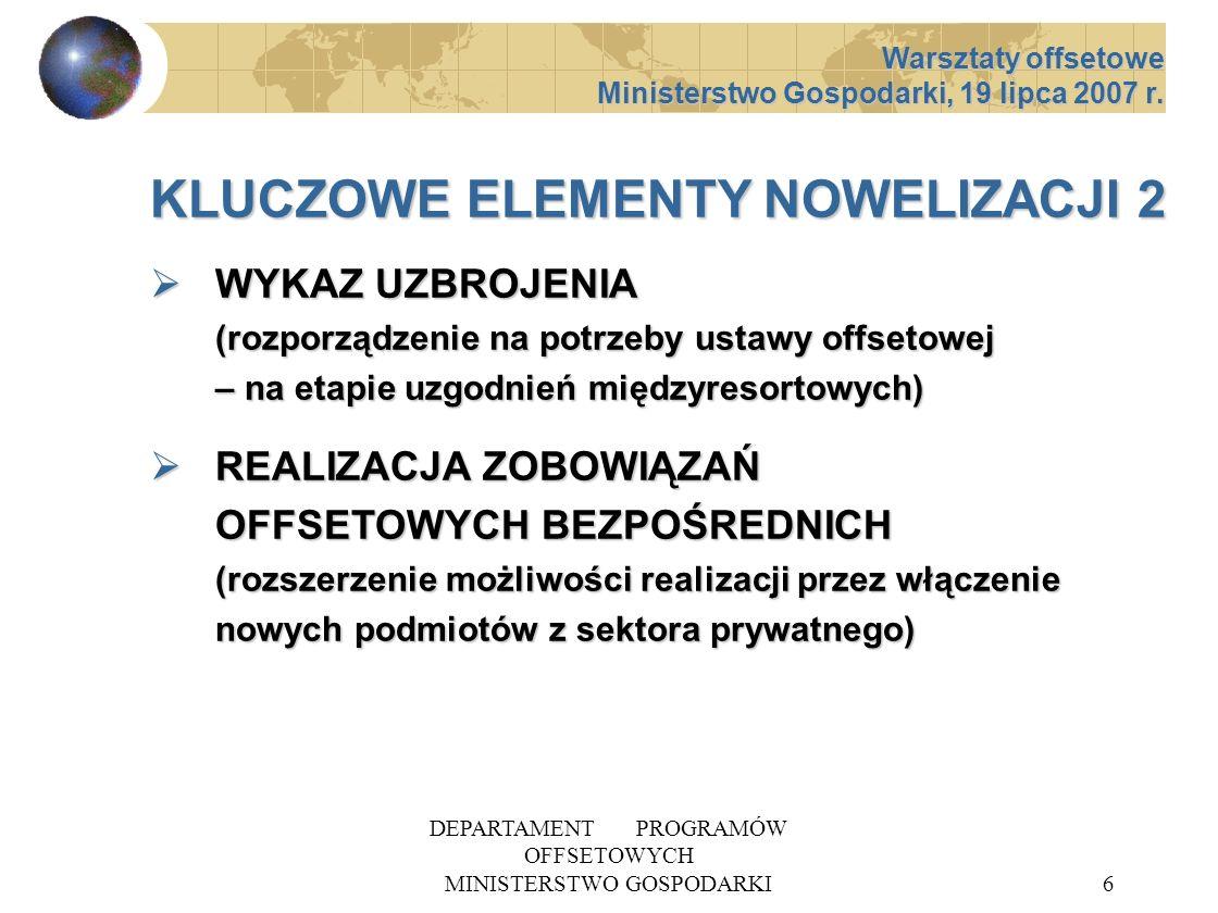 DEPARTAMENT PROGRAMÓW OFFSETOWYCH MINISTERSTWO GOSPODARKI6 KLUCZOWE ELEMENTY NOWELIZACJI 2 WYKAZ UZBROJENIA (rozporządzenie na potrzeby ustawy offseto
