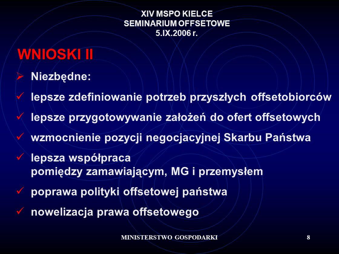 MINISTERSTWO GOSPODARKI8 WNIOSKI II Niezbędne: lepsze zdefiniowanie potrzeb przyszłych offsetobiorców lepsze przygotowywanie założeń do ofert offsetowych wzmocnienie pozycji negocjacyjnej Skarbu Państwa lepsza współpraca pomiędzy zamawiającym, MG i przemysłem poprawa polityki offsetowej państwa nowelizacja prawa offsetowego XIV MSPO KIELCE SEMINARIUM OFFSETOWE 5.IX.2006 r.