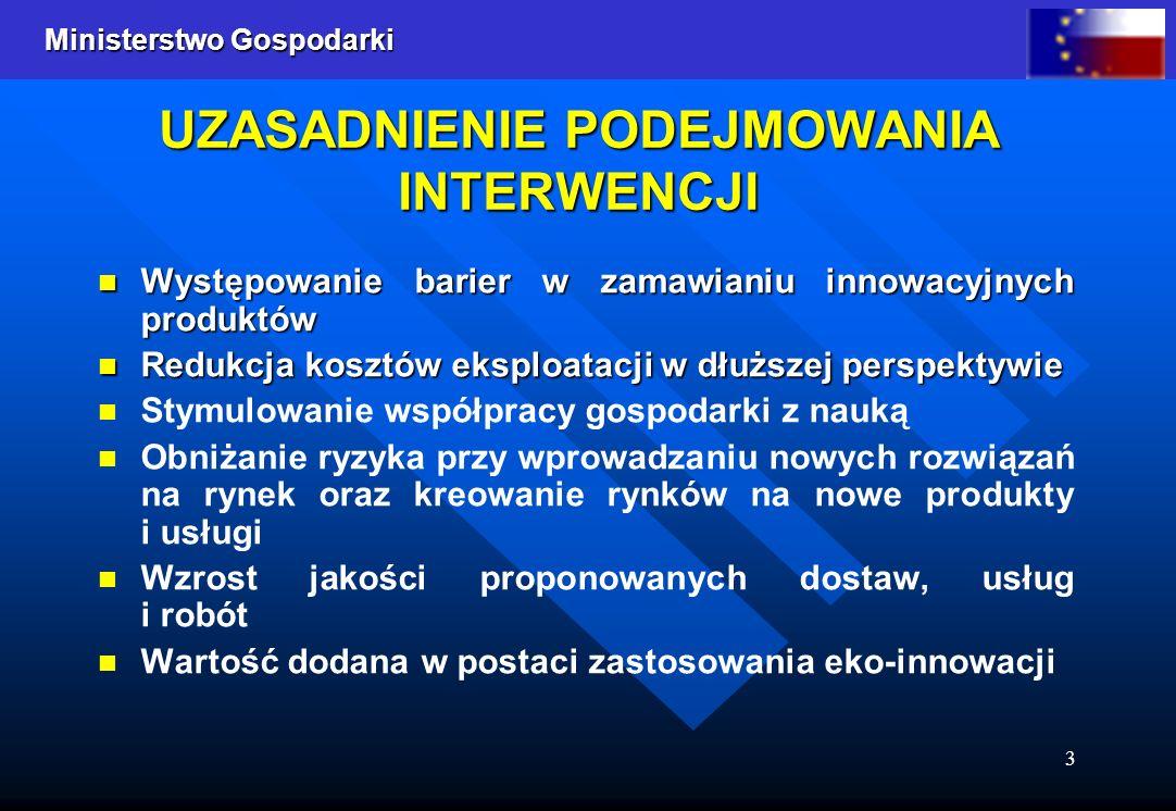 Ministerstwo Gospodarki 3 UZASADNIENIE PODEJMOWANIA INTERWENCJI Występowanie barier w zamawianiu innowacyjnych produktów Występowanie barier w zamawia