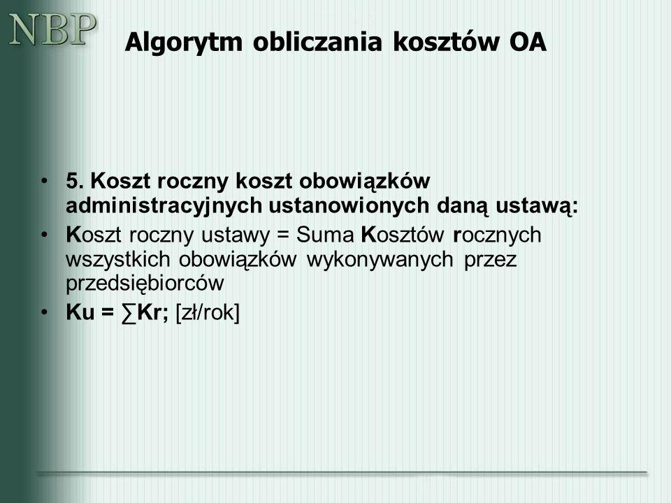Algorytm obliczania kosztów OA 5.
