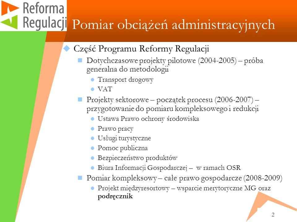 2 Pomiar obciążeń administracyjnych Część Programu Reformy Regulacji Dotychczasowe projekty pilotowe (2004-2005) – próba generalna do metodologii Transport drogowy VAT Projekty sektorowe – początek procesu (2006-2007) – przygotowanie do pomiaru kompleksowego i redukcji Ustawa Prawo ochrony środowiska Prawo pracy Usługi turystyczne Pomoc publiczna Bezpieczeństwo produktów Biura Informacji Gospodarczej – w ramach OSR Pomiar kompleksowy – całe prawo gospodarcze (2008-2009) Projekt międzyresortowy – wsparcie merytoryczne MG oraz podręcznik