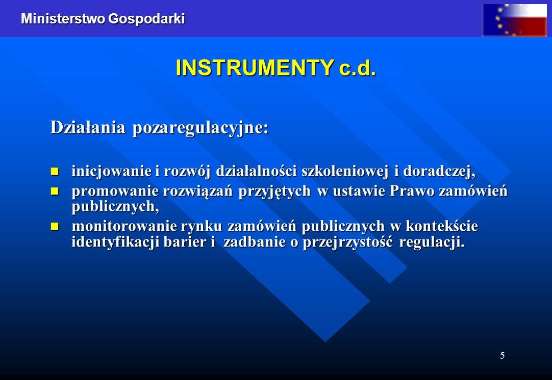 Ministerstwo Gospodarki 5 INSTRUMENTY c.d. Działania pozaregulacyjne: inicjowanie i rozwój działalności szkoleniowej i doradczej, inicjowanie i rozwój