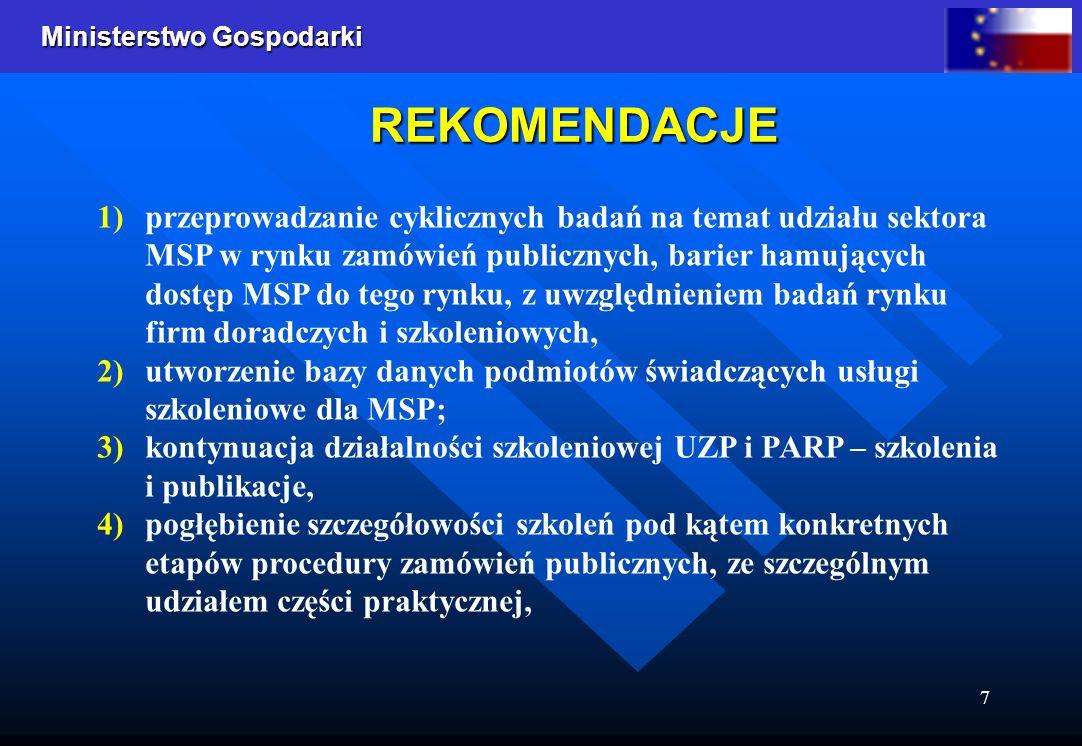 Ministerstwo Gospodarki 7 REKOMENDACJE 1) 1)przeprowadzanie cyklicznych badań na temat udziału sektora MSP w rynku zamówień publicznych, barier hamujących dostęp MSP do tego rynku, z uwzględnieniem badań rynku firm doradczych i szkoleniowych, 2) 2)utworzenie bazy danych podmiotów świadczących usługi szkoleniowe dla MSP; 3) 3)kontynuacja działalności szkoleniowej UZP i PARP – szkolenia i publikacje, 4) 4)pogłębienie szczegółowości szkoleń pod kątem konkretnych etapów procedury zamówień publicznych, ze szczególnym udziałem części praktycznej,