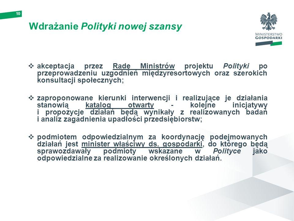 10 Wdrażanie Polityki nowej szansy akceptacja przez Radę Ministrów projektu Polityki po przeprowadzeniu uzgodnień międzyresortowych oraz szerokich kon