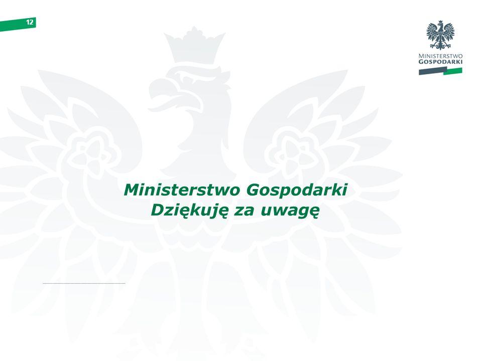 12 Ministerstwo Gospodarki Dziękuję za uwagę