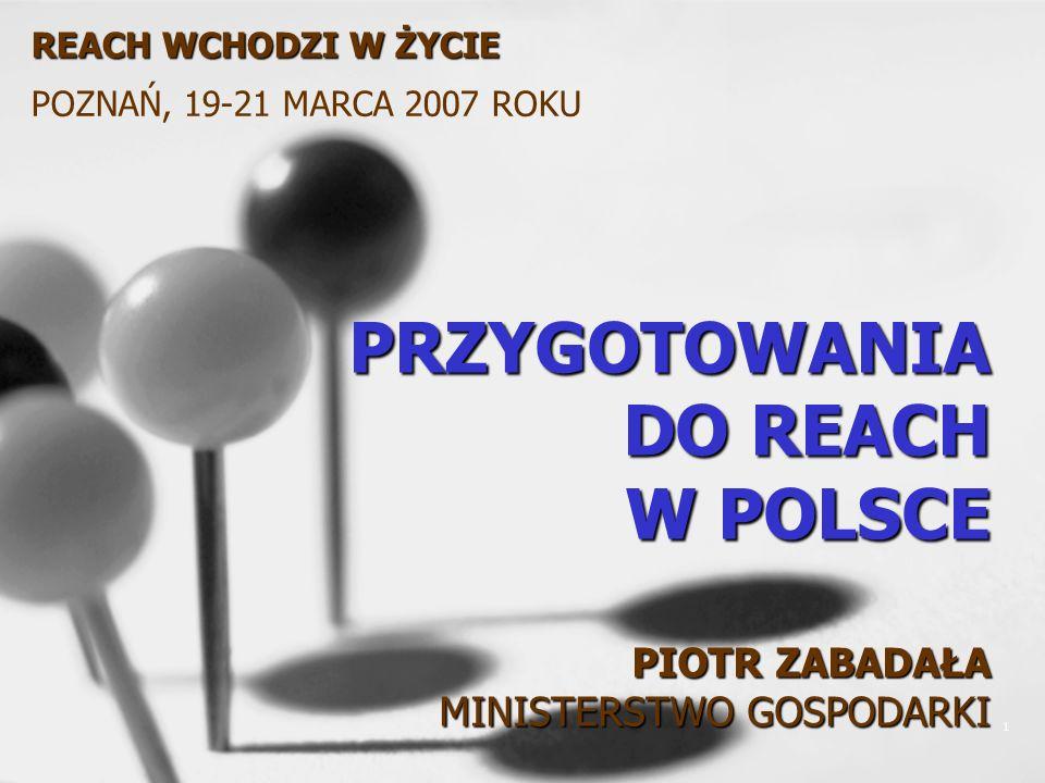 1 PRZYGOTOWANIA DO REACH W POLSCE PIOTR ZABADAŁA MINISTERSTWO GOSPODARKI REACH WCHODZI W ŻYCIE POZNAŃ, 19-21 MARCA 2007 ROKU
