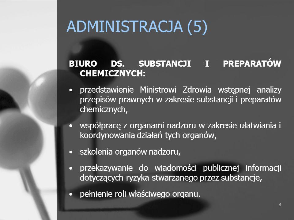 6 ADMINISTRACJA (5) BIURO DS. SUBSTANCJI I PREPARATÓW CHEMICZNYCH: przedstawienie Ministrowi Zdrowia wstępnej analizy przepisów prawnych w zakresie su