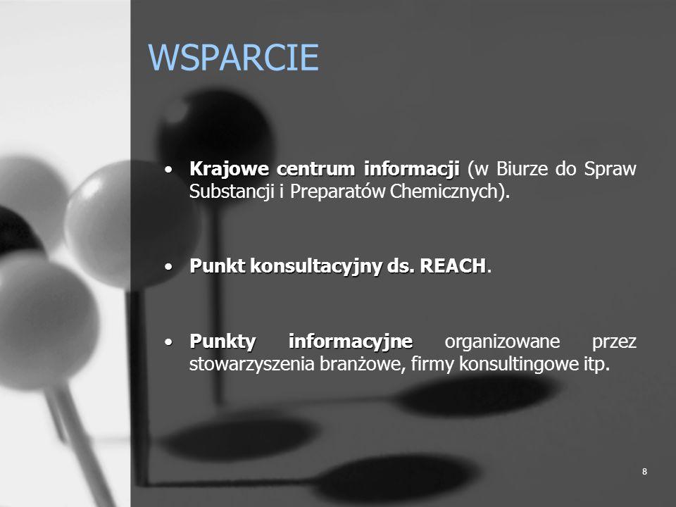 8 WSPARCIE Krajowe centrum informacjiKrajowe centrum informacji (w Biurze do Spraw Substancji i Preparatów Chemicznych). Punkt konsultacyjny ds. REACH