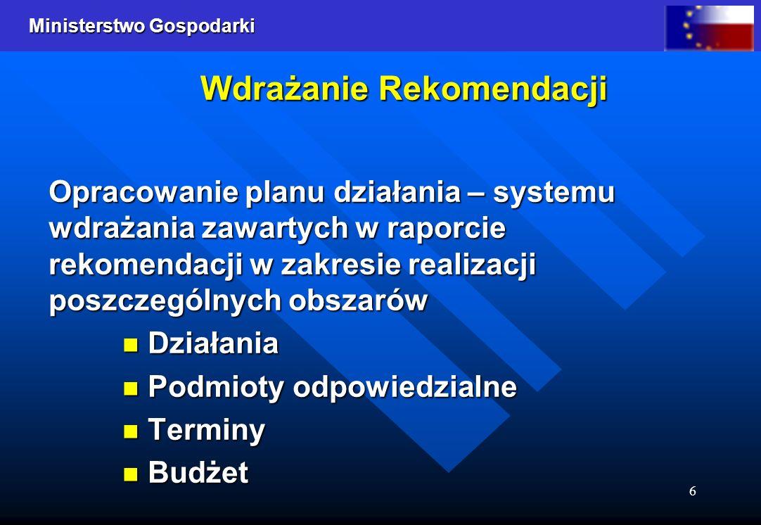 Ministerstwo Gospodarki 6 Wdrażanie Rekomendacji Opracowanie planu działania – systemu wdrażania zawartych w raporcie rekomendacji w zakresie realizacji poszczególnych obszarów Działania Podmioty odpowiedzialne Terminy Budżet
