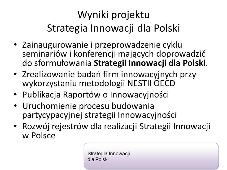 Wyniki projektu Strategia Innowacji dla Polski Zainaugurowanie i przeprowadzenie cyklu seminariów i konferencji mających doprowadzić do sformułowania