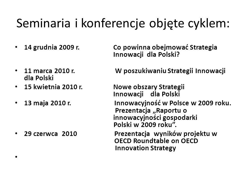 Seminaria i konferencje objęte cyklem: 14 grudnia 2009 r. Co powinna obejmować Strategia Innowacji dla Polski? 11 marca 2010 r. W poszukiwaniu Strateg