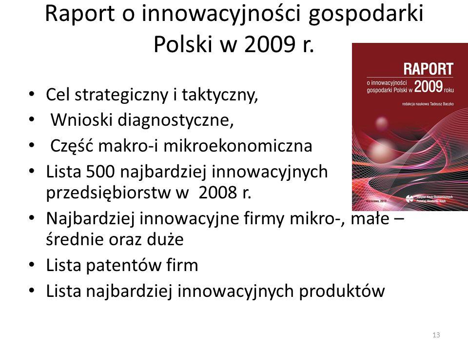 Raport o innowacyjności gospodarki Polski w 2009 r. Cel strategiczny i taktyczny, Wnioski diagnostyczne, Część makro-i mikroekonomiczna Lista 500 najb