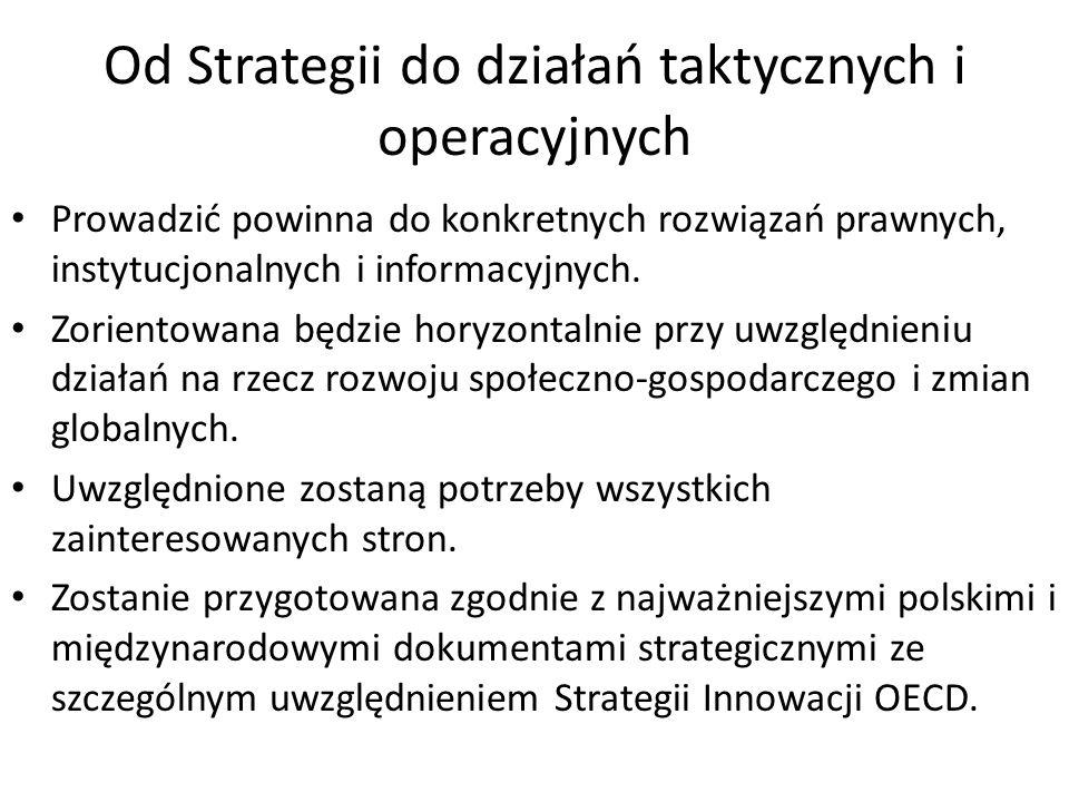 Od Strategii do działań taktycznych i operacyjnych Prowadzić powinna do konkretnych rozwiązań prawnych, instytucjonalnych i informacyjnych. Zorientowa