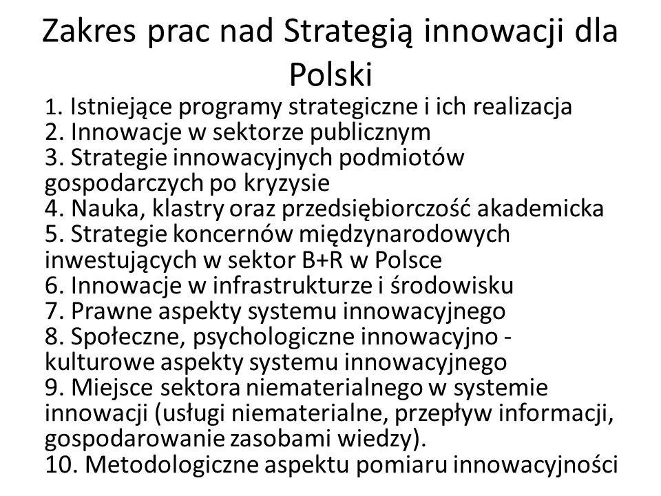 Zakres prac nad Strategią innowacji dla Polski 1. Istniejące programy strategiczne i ich realizacja 2. Innowacje w sektorze publicznym 3. Strategie in