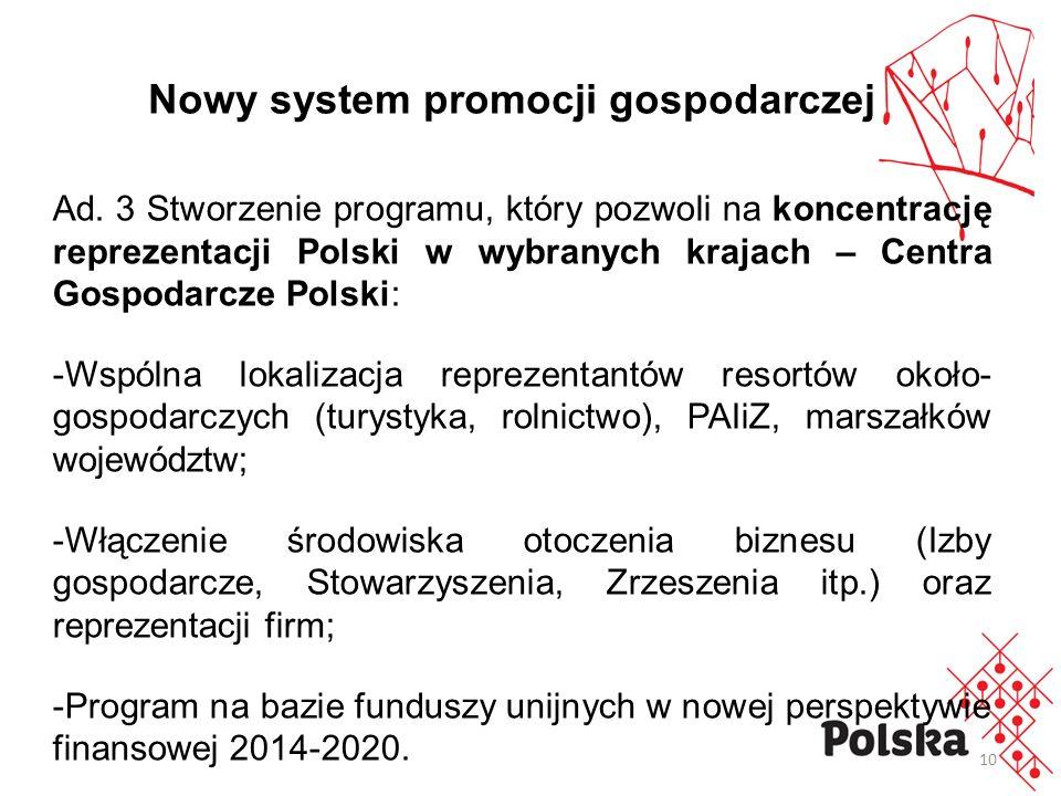 10 Ad. 3 Stworzenie programu, który pozwoli na koncentrację reprezentacji Polski w wybranych krajach – Centra Gospodarcze Polski: -Wspólna lokalizacja