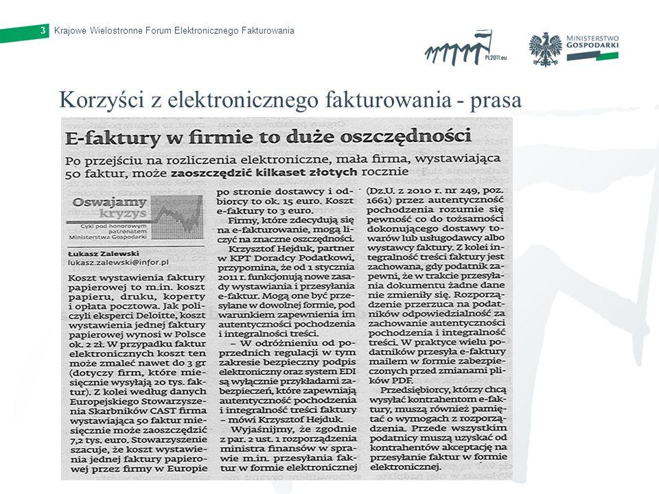 Krajowe Wielostronne Forum Elektronicznego Fakturowania3 Korzyści z elektronicznego fakturowania - prasa
