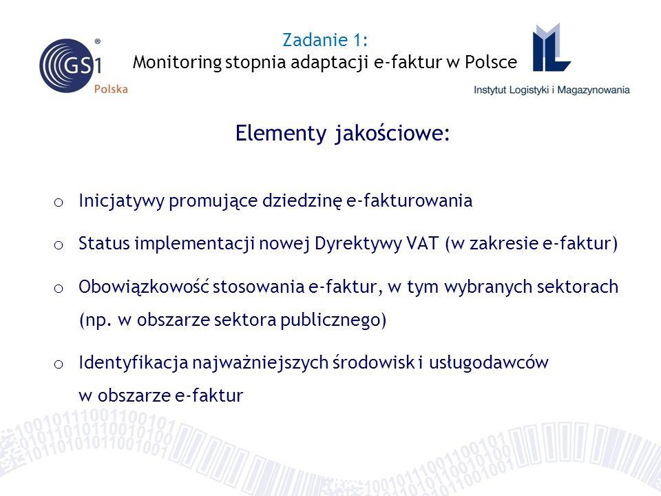 Elementy jakościowe: o Inicjatywy promujące dziedzinę e-fakturowania o Status implementacji nowej Dyrektywy VAT (w zakresie e-faktur) o Obowiązkowość