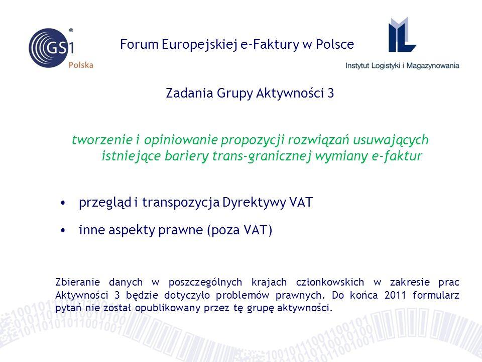 Forum Europejskiej e-Faktury w Polsce Zadania Grupy Aktywności 3 tworzenie i opiniowanie propozycji rozwiązań usuwających istniejące bariery trans-gra