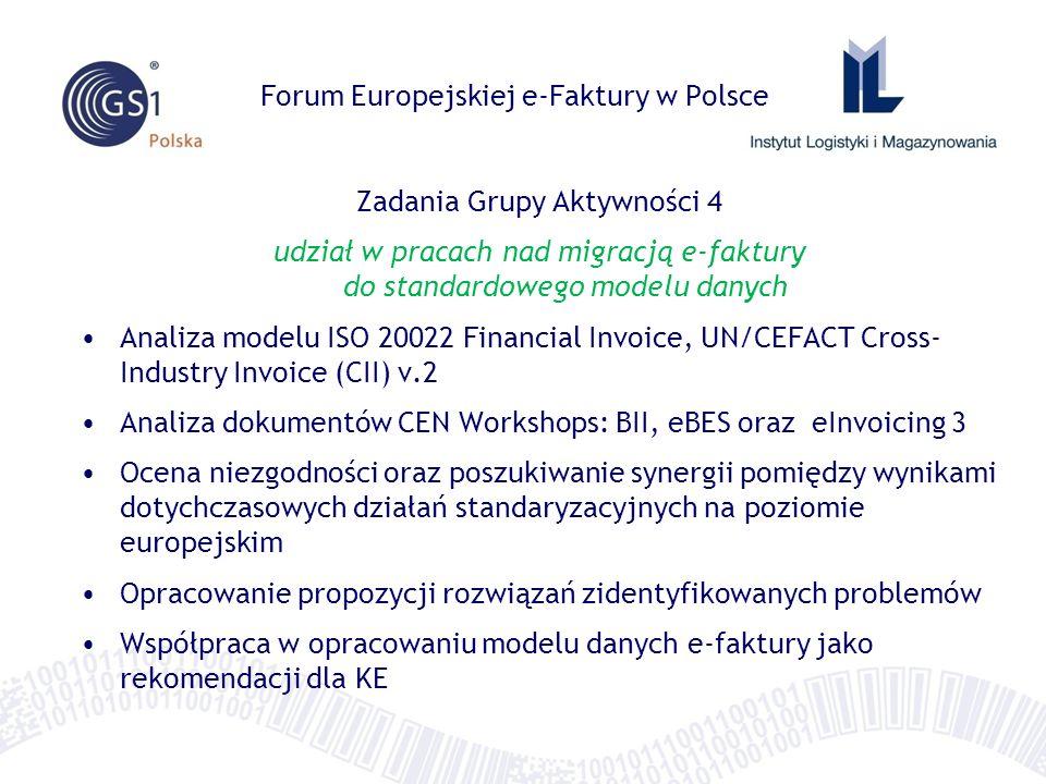 Forum Europejskiej e-Faktury w Polsce Zadania Grupy Aktywności 4 udział w pracach nad migracją e-faktury do standardowego modelu danych Analiza modelu