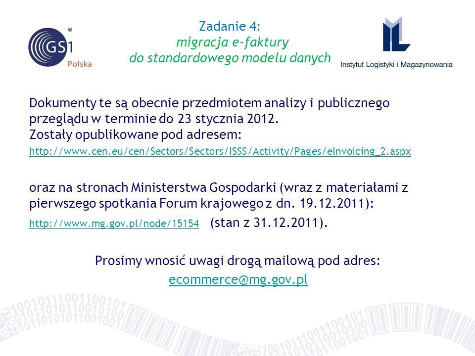 Dokumenty te są obecnie przedmiotem analizy i publicznego przeglądu w terminie do 23 stycznia 2012. Zostały opublikowane pod adresem: http://www.cen.e