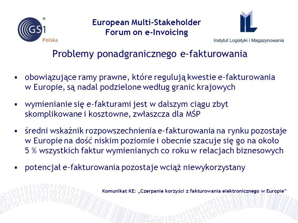 Problemy ponadgranicznego e-fakturowania obowiązujące ramy prawne, które regulują kwestie e-fakturowania w Europie, są nadal podzielone według granic
