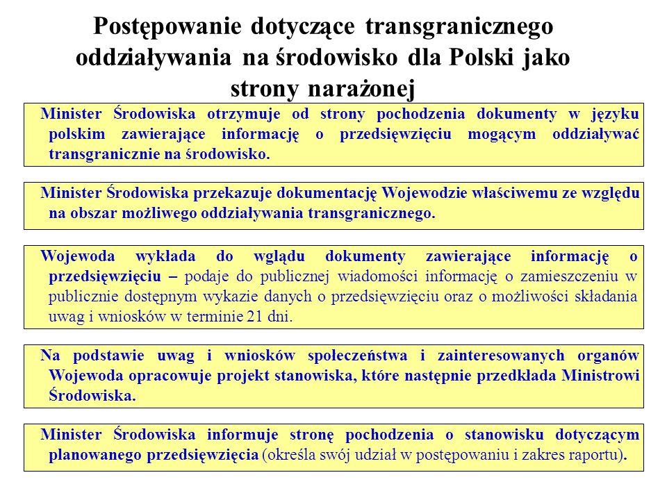 Postępowanie dotyczące transgranicznego oddziaływania na środowisko dla Polski jako strony narażonej Minister Środowiska otrzymuje od strony pochodzen