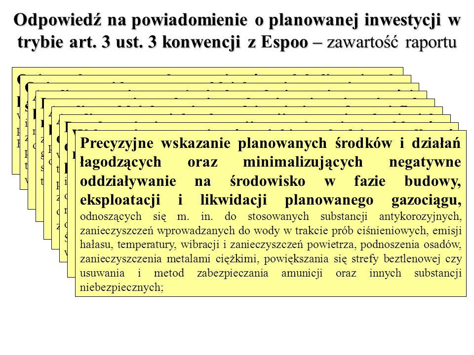 Odpowiedź na powiadomienie o planowanej inwestycji w trybie art. 3 ust. 3 konwencji z spoo – zawartość raportu Odpowiedź na powiadomienie o planowanej
