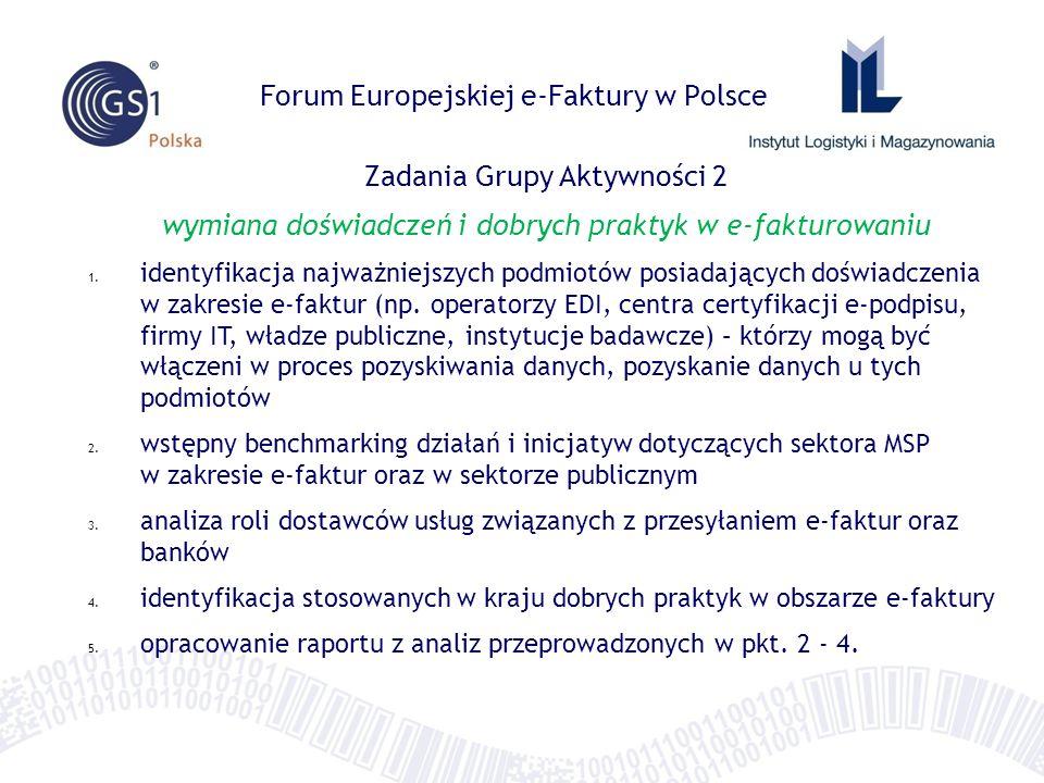 Forum Europejskiej e-Faktury w Polsce Zadania Grupy Aktywności 2 wymiana doświadczeń i dobrych praktyk w e-fakturowaniu 1.