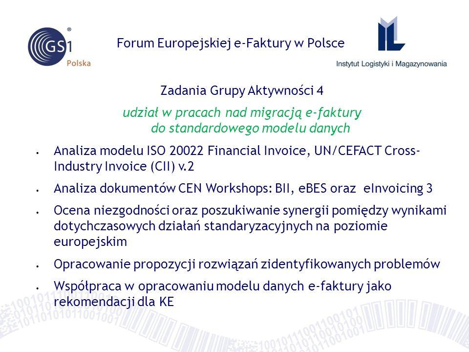 Forum Europejskiej e-Faktury w Polsce Zadania Grupy Aktywności 4 udział w pracach nad migracją e-faktury do standardowego modelu danych Analiza modelu ISO 20022 Financial Invoice, UN/CEFACT Cross- Industry Invoice (CII) v.2 Analiza dokumentów CEN Workshops: BII, eBES oraz eInvoicing 3 Ocena niezgodności oraz poszukiwanie synergii pomiędzy wynikami dotychczasowych działań standaryzacyjnych na poziomie europejskim Opracowanie propozycji rozwiązań zidentyfikowanych problemów Współpraca w opracowaniu modelu danych e-faktury jako rekomendacji dla KE