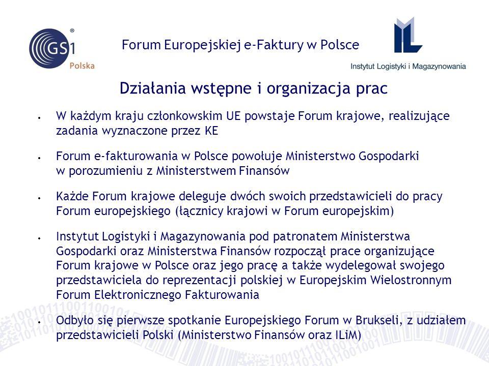 Zadania Forum Europejskiej e-Faktury w Polsce 1) monitoring stopnia adaptacji e-faktur w krajach członkowskich oraz na poziomie UE Grupa Aktywności 1: lider - Pieter Breyne (National Forum Belgium) 2) wymiana doświadczeń i dobrych praktyk w e-fakturowaniu Grupa Aktywności 2: lider - Charles Bryant / Manos Schizas (National Forum UK) 2) tworzenie i opiniowanie propozycji rozwiązań usuwających istniejące bariery trans-granicznej wymiany e-faktur Grupa Aktywności 3: lider - Stefan Engel-Flechsig (National Forum Germany) 2) udział w pracach nad migracją e-faktury do standardowego modelu danych Grupa Aktywności 4: lider - Peter Potgieser (reprezentant CEN) Sekretariaty Grup prowadzone przez przedstawicieli KE