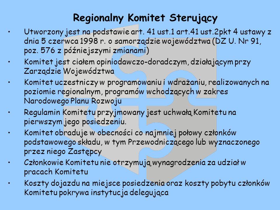 Regionalny Komitet Sterujący Utworzony jest na podstawie art.