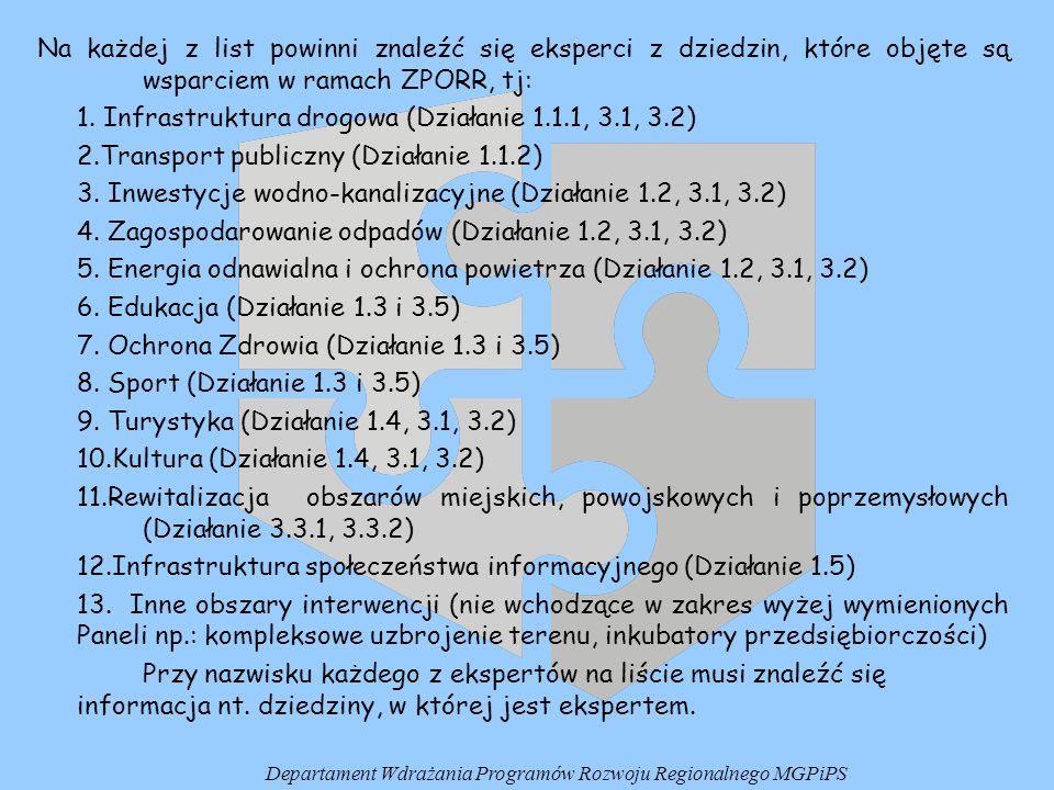 Na każdej z list powinni znaleźć się eksperci z dziedzin, które objęte są wsparciem w ramach ZPORR, tj: 1. Infrastruktura drogowa (Działanie 1.1.1, 3.